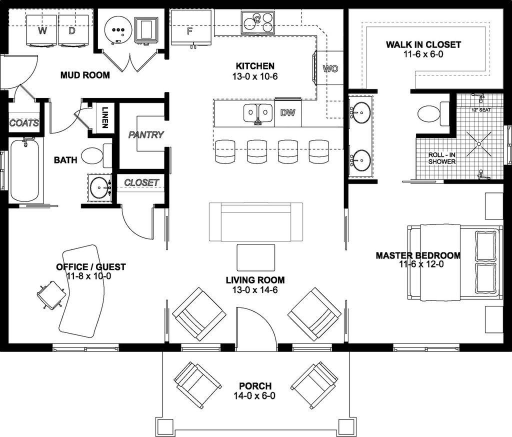 แบบบ้านชั้นเดียว 2 ห้องนอน แนวคอทเทจ